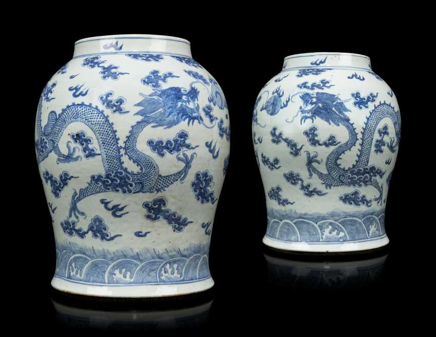 A PAIR OF CHINESE BLUE AND WHITE PORCELAIN VASES - photo 1