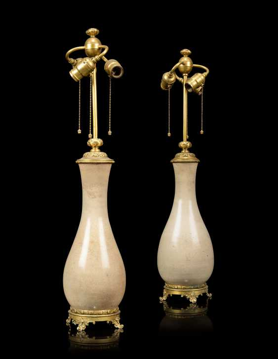 A PAIR OF FRENCH 'JAPONISME' ORMOLU-MOUNTED CERAMIC VASES, MOUNTED AS LAMPS - photo 1