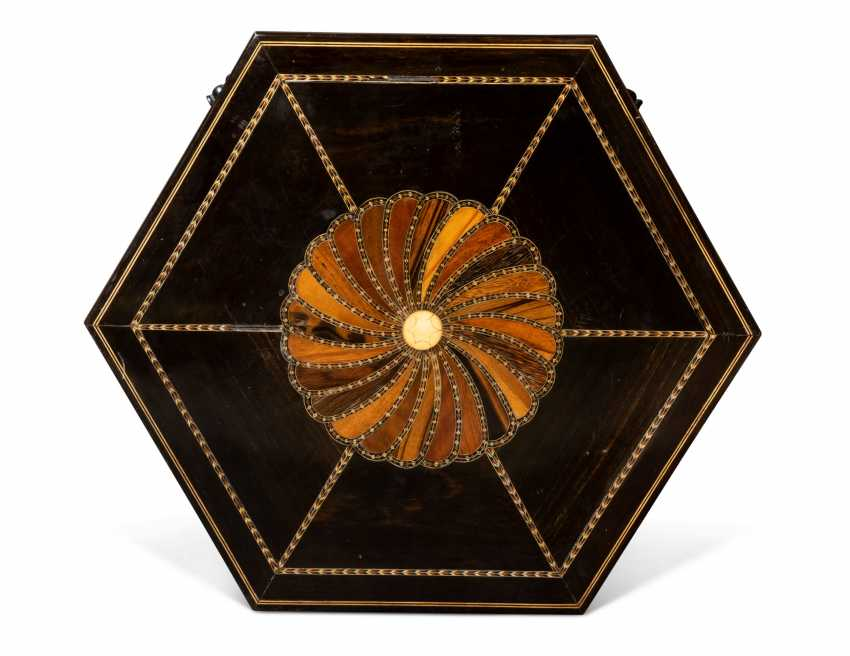 A PAIR OF CEYLONESE SPECIMEN-WOOD AND BONE-INLAID EBONY HEXAGONAL SIDE TABLES - photo 2