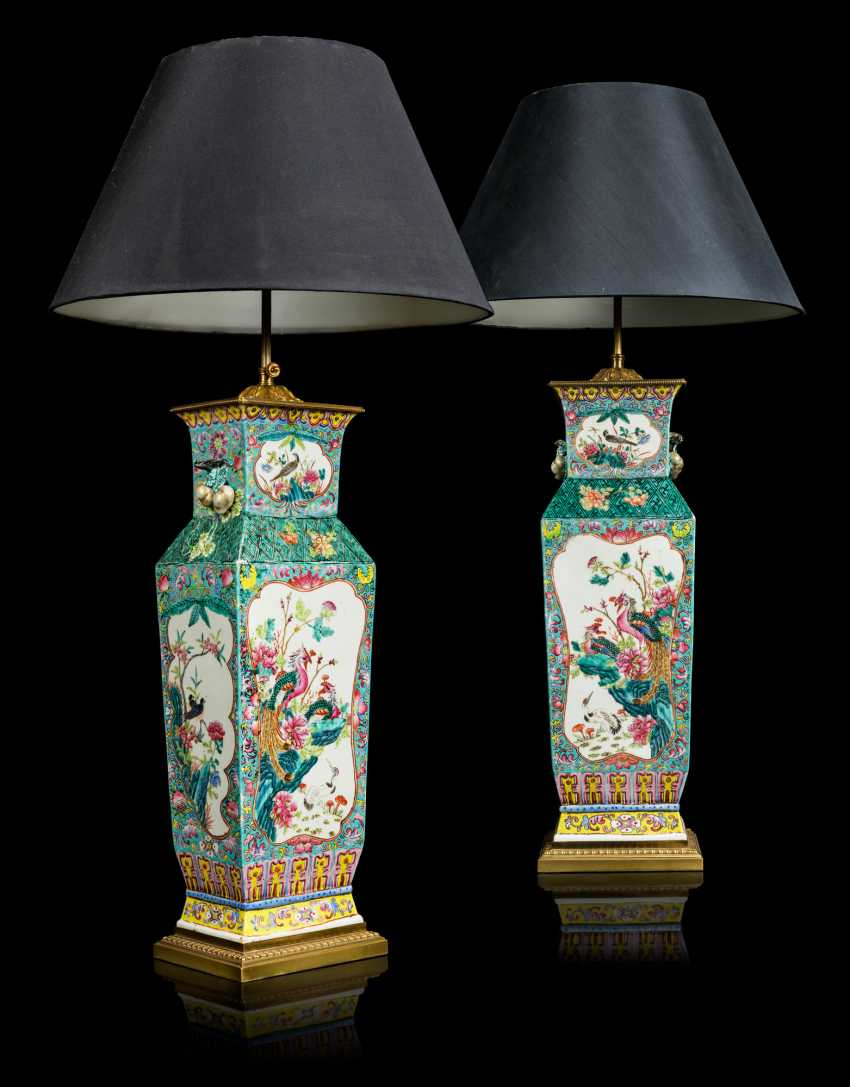 A PAIR OF CHINESE FAMILLE ROSE VASES, MOUNTED AS LAMPS - photo 1