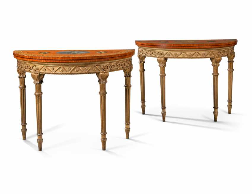 A PAIR OF LATE VICTORIAN SATINWOOD, TULIPWOOD PARCEL-GILT AND POLYCHROME-DECORATED CARD TABLES - photo 1