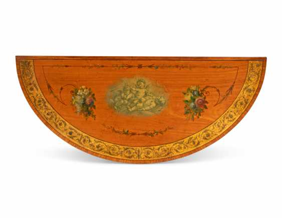 A PAIR OF LATE VICTORIAN SATINWOOD, TULIPWOOD PARCEL-GILT AND POLYCHROME-DECORATED CARD TABLES - photo 2