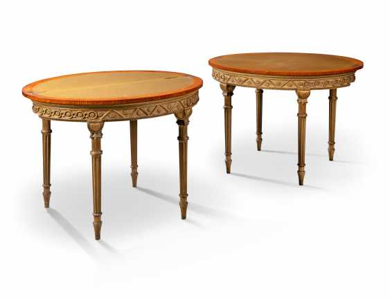 A PAIR OF LATE VICTORIAN SATINWOOD, TULIPWOOD PARCEL-GILT AND POLYCHROME-DECORATED CARD TABLES - photo 4