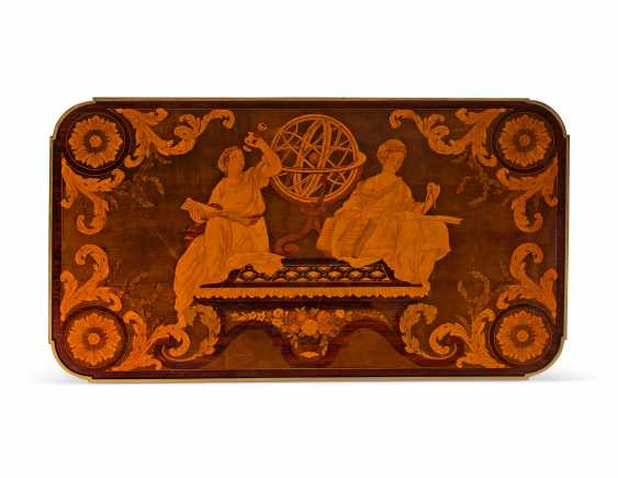 A FRENCH ORMOLU-MOUNTED AMARANTH, SYCAMORE, PLANE AND MARQUETRY CENTRE-TABLE - photo 3