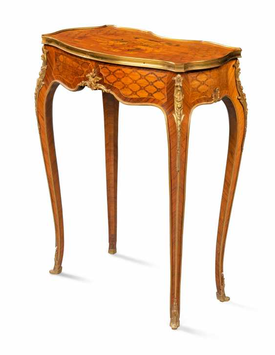 A PAIR OF FRENCH ORMOLU-MOUNTED KINGWOOD, ROSEWOOD, SATINWOOD, AND STAINED FRUITWOOD MARQUETRY OCCASIONAL TABLES - photo 2
