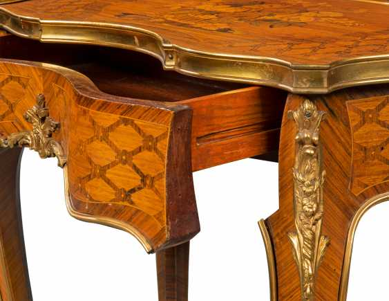 A PAIR OF FRENCH ORMOLU-MOUNTED KINGWOOD, ROSEWOOD, SATINWOOD, AND STAINED FRUITWOOD MARQUETRY OCCASIONAL TABLES - photo 3