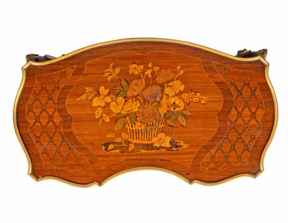 A PAIR OF FRENCH ORMOLU-MOUNTED KINGWOOD, ROSEWOOD, SATINWOOD, AND STAINED FRUITWOOD MARQUETRY OCCASIONAL TABLES - photo 4