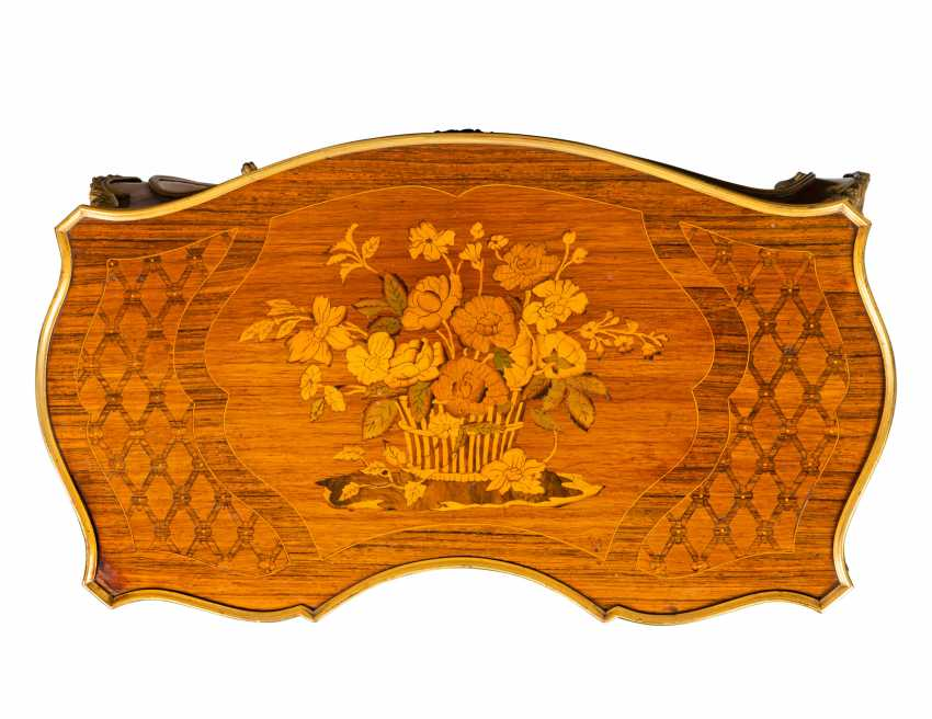 A PAIR OF FRENCH ORMOLU-MOUNTED KINGWOOD, ROSEWOOD, SATINWOOD, AND STAINED FRUITWOOD MARQUETRY OCCASIONAL TABLES - photo 5