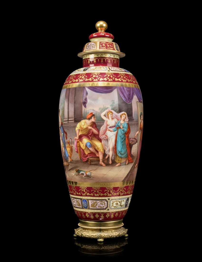 A PAIR OF LARGE VIENNA-STYLE PORCELAIN CLARET-GROUND VASES AND COVERS - photo 3