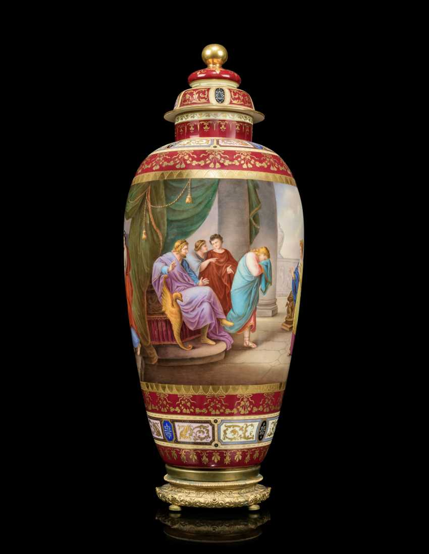 A PAIR OF LARGE VIENNA-STYLE PORCELAIN CLARET-GROUND VASES AND COVERS - photo 6