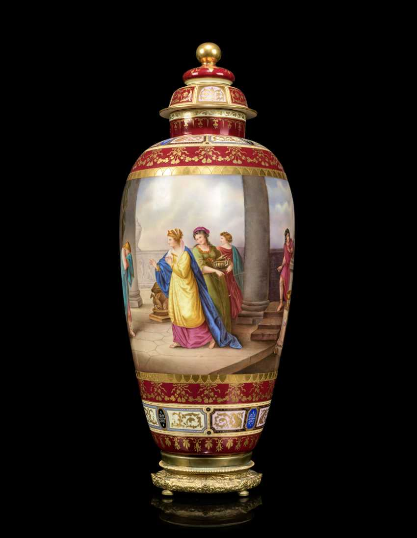 A PAIR OF LARGE VIENNA-STYLE PORCELAIN CLARET-GROUND VASES AND COVERS - photo 7
