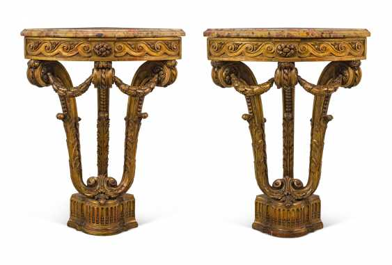 A PAIR OF FRENCH GILTWOOD CORNER TABLES - photo 1