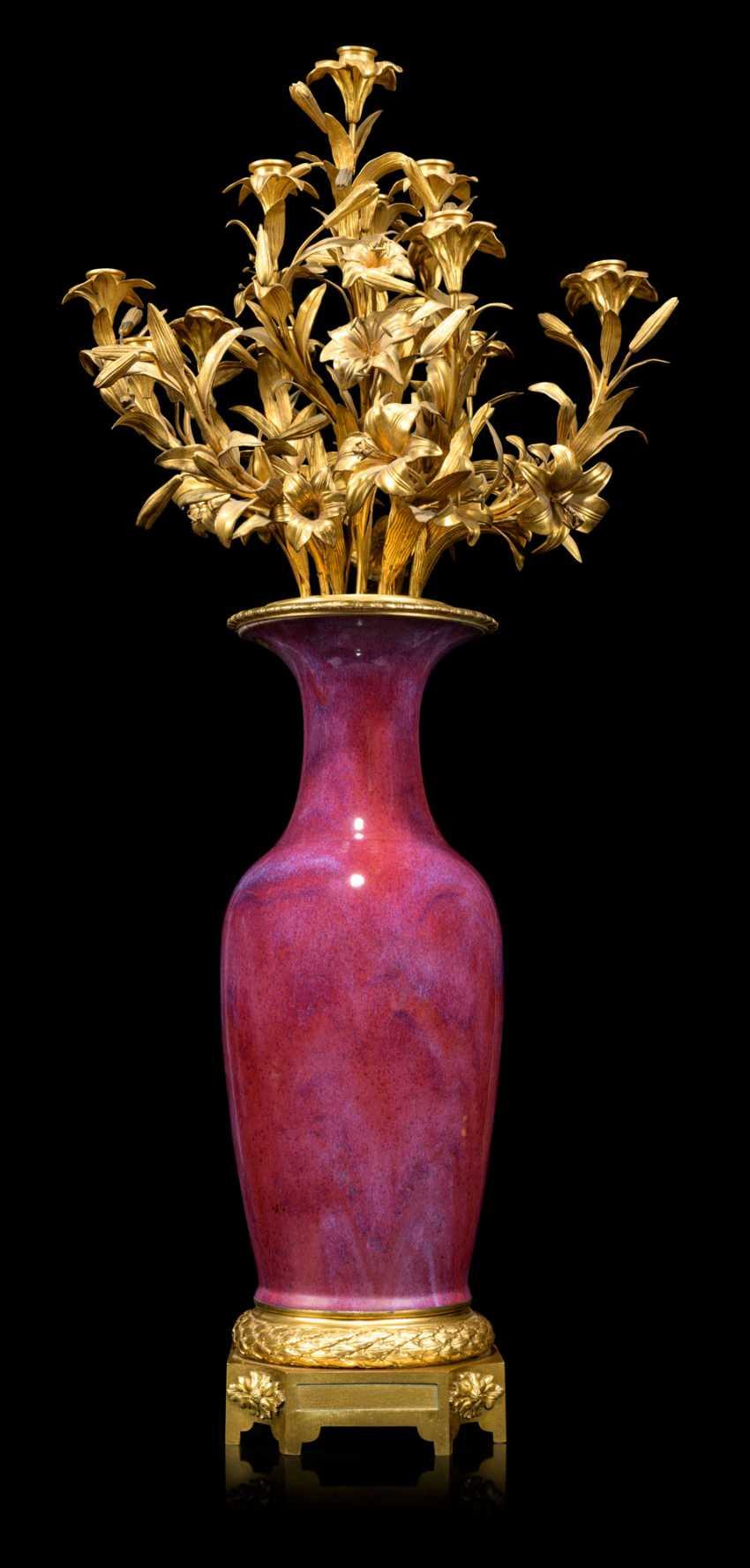 A PAIR OF FRENCH ORMOLU-MOUNTED CHINESE FLAMBE-GLAZED PORCELAIN TWELVE-LIGHT VASE-CANDELABRA - photo 2