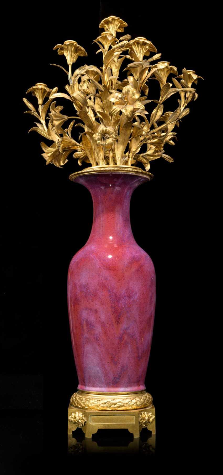 A PAIR OF FRENCH ORMOLU-MOUNTED CHINESE FLAMBE-GLAZED PORCELAIN TWELVE-LIGHT VASE-CANDELABRA - photo 3
