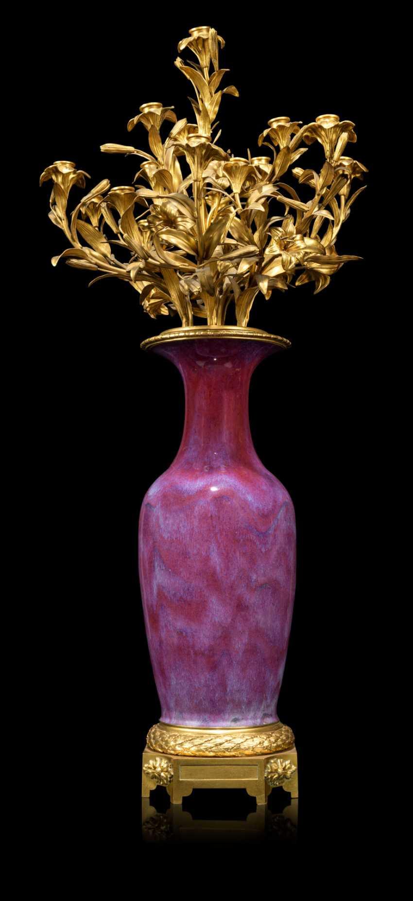 A PAIR OF FRENCH ORMOLU-MOUNTED CHINESE FLAMBE-GLAZED PORCELAIN TWELVE-LIGHT VASE-CANDELABRA - photo 4