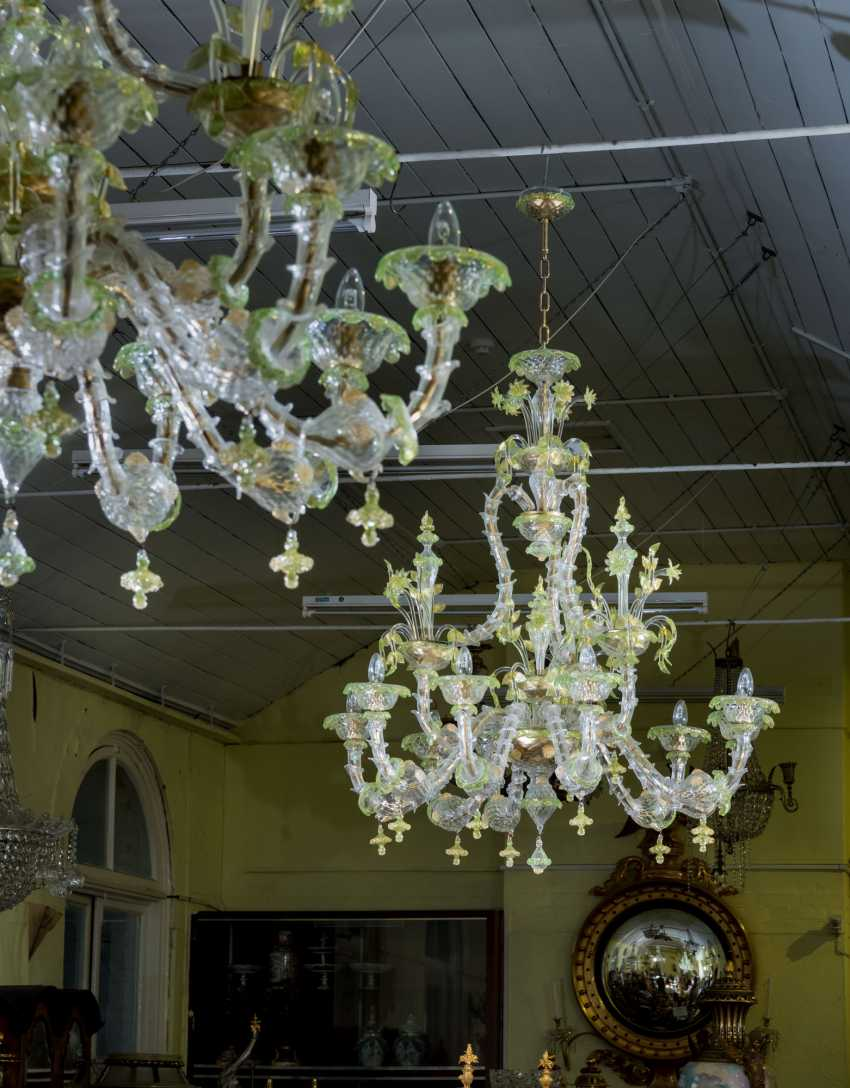 A PAIR OF ITALIAN FROSTED AND PALE-GREEN GLASS NINE-LIGHT CHANDELIERS - photo 1