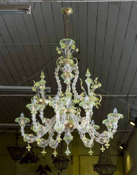 A PAIR OF ITALIAN FROSTED AND PALE-GREEN GLASS NINE-LIGHT CHANDELIERS - photo 3