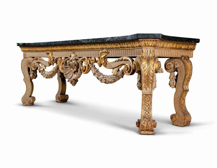A LATE VICTORIAN PARCEL-GILT AND WHITE-PAINTED MONUMENTAL CONSOLE TABLE - photo 6