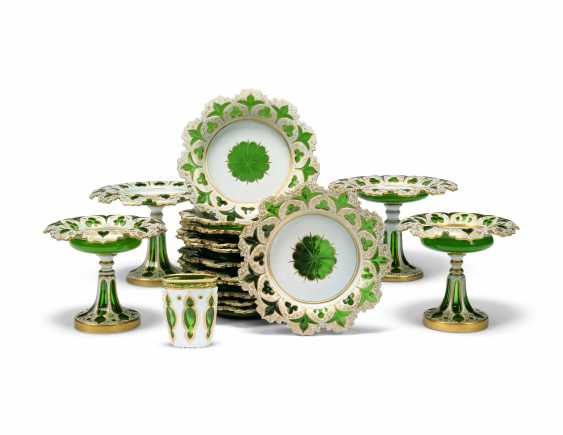 A BOHEMIAN WHITE-GLASS OVERLAY GREEN-GROUND DESSERT-SERVICE - photo 1