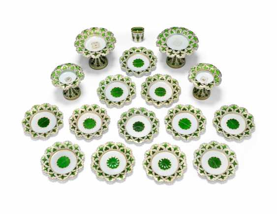 A BOHEMIAN WHITE-GLASS OVERLAY GREEN-GROUND DESSERT-SERVICE - photo 2