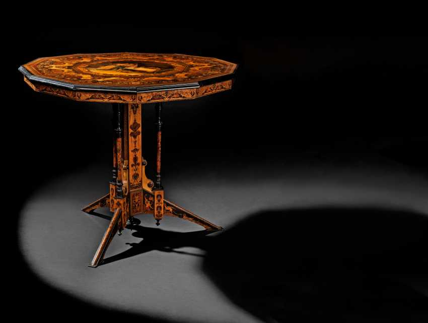 AN ITALIAN PENWORK, INTARSIA, EBONY AND STAINED FRUITWOOD MARQUETRY CENTRE-TABLE - photo 1