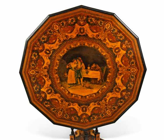 AN ITALIAN PENWORK, INTARSIA, EBONY AND STAINED FRUITWOOD MARQUETRY CENTRE-TABLE - photo 2