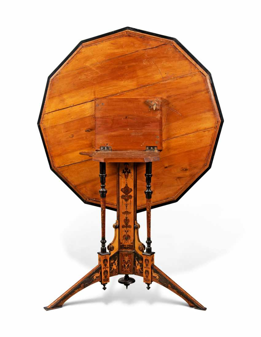 AN ITALIAN PENWORK, INTARSIA, EBONY AND STAINED FRUITWOOD MARQUETRY CENTRE-TABLE - photo 3