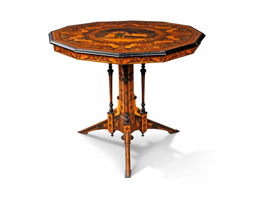 AN ITALIAN PENWORK, INTARSIA, EBONY AND STAINED FRUITWOOD MARQUETRY CENTRE-TABLE - photo 4