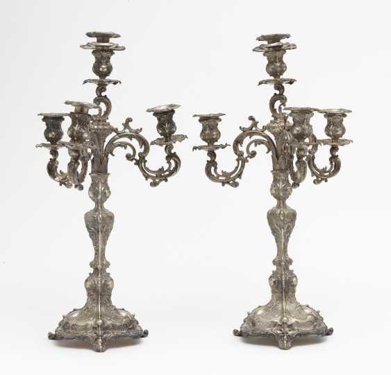 A pair of girandoles, four lights. Probably Heilbronn, Bruckmann & Sons, Rococo style - photo 1