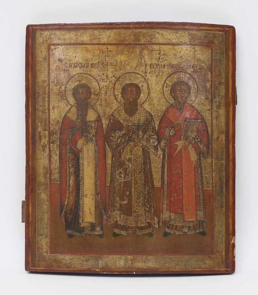 THE THREE hierarchs BASIL, GREGORY AND JOHN CHRYSOSTOM, Russia, 1. Half of the 19th century. Century - photo 1