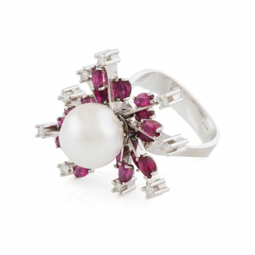 PEARL RING WITH GEMSTONES - photo 1