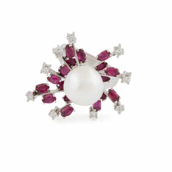 PEARL RING WITH GEMSTONES - photo 2