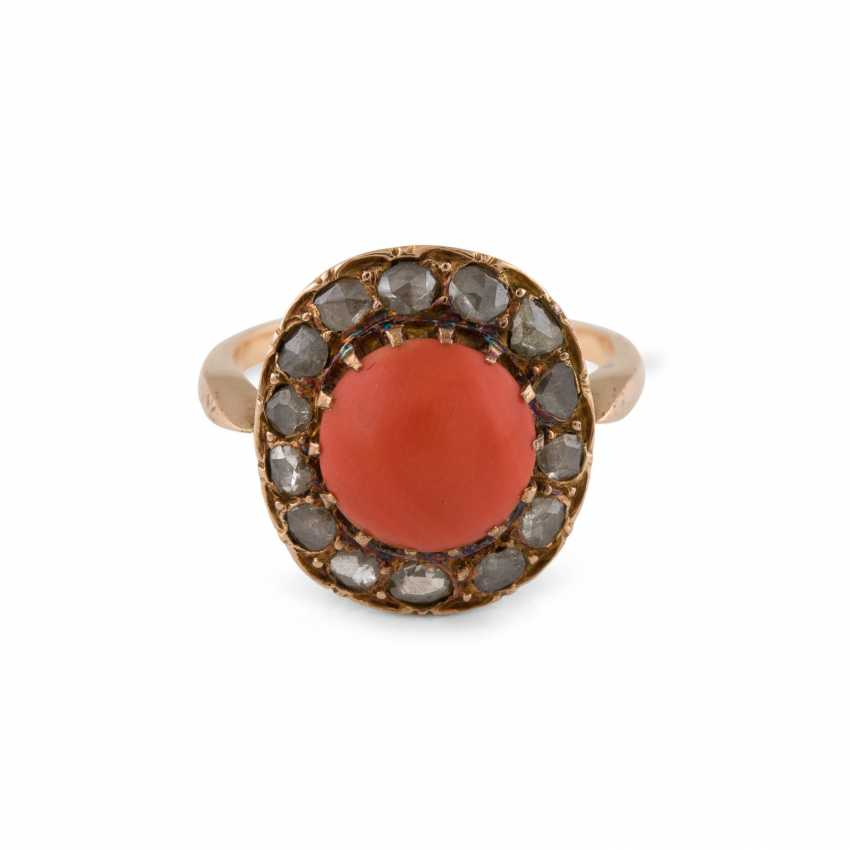 CORAL RING WITH DIAMOND TRIM - photo 1