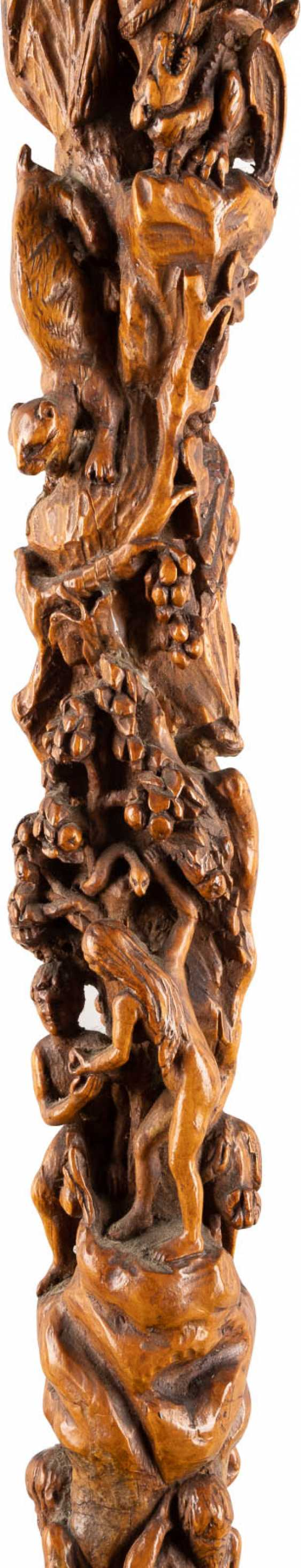 WALKING STICK WITH FIGURAL CARVING - photo 3