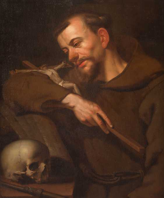 SAINT FRANCIS OF ASSISI WITH A SKULL AND HOLY SCRIPTURE, HOLDING A CRUCIFIX - photo 1