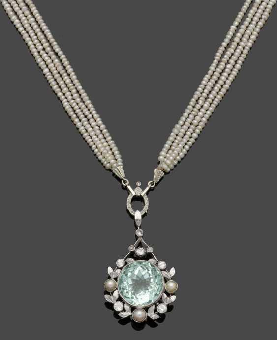 Art Nouveau pearl necklace with aquamarine pendant - photo 1