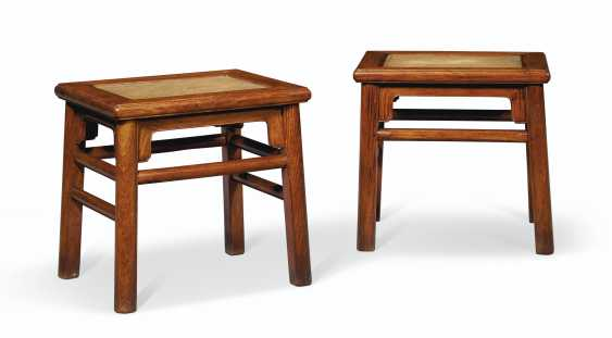 A PAIR OF HUANGHUALI RECTANGULAR STOOLS - photo 1