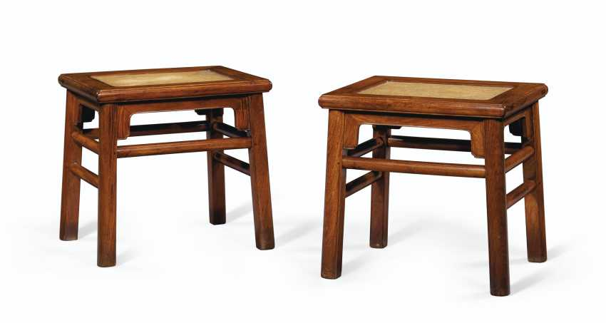 A PAIR OF HUANGHUALI RECTANGULAR STOOLS - photo 3