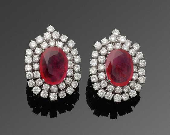 Pair of elegant jewel clip-on earrings with ruby and diamond trimming - photo 1