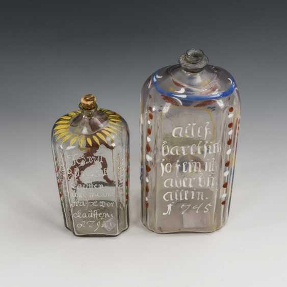 2 liquor bottles with enamel painting - photo 2