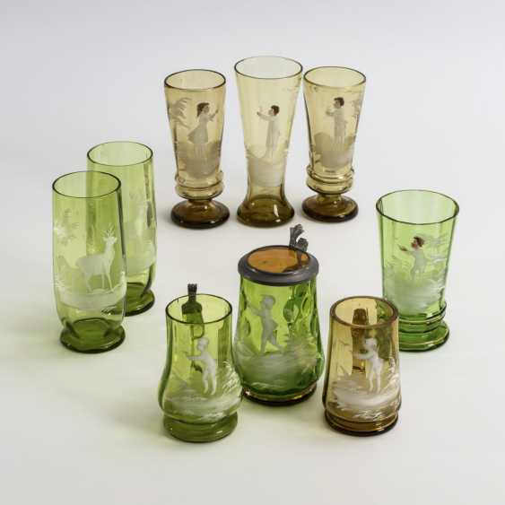 9 different glasses with snow painting - photo 1