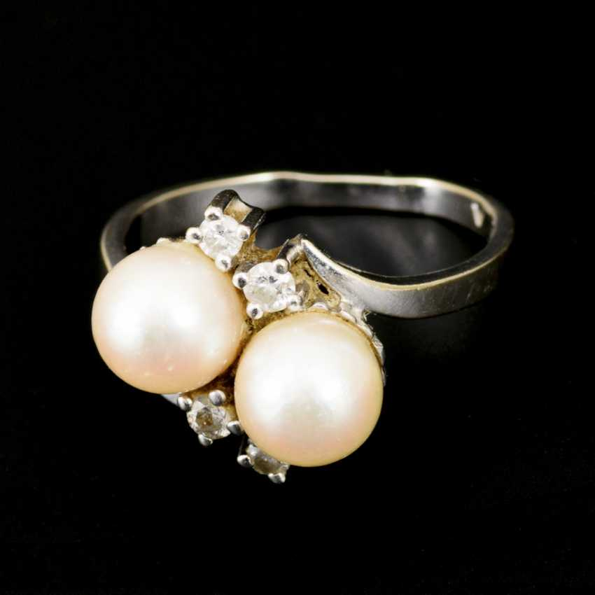 Ring with cultured pearls and diamonds - photo 2
