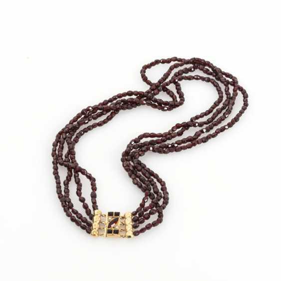4-row garnet chain with decorative clasp - photo 1