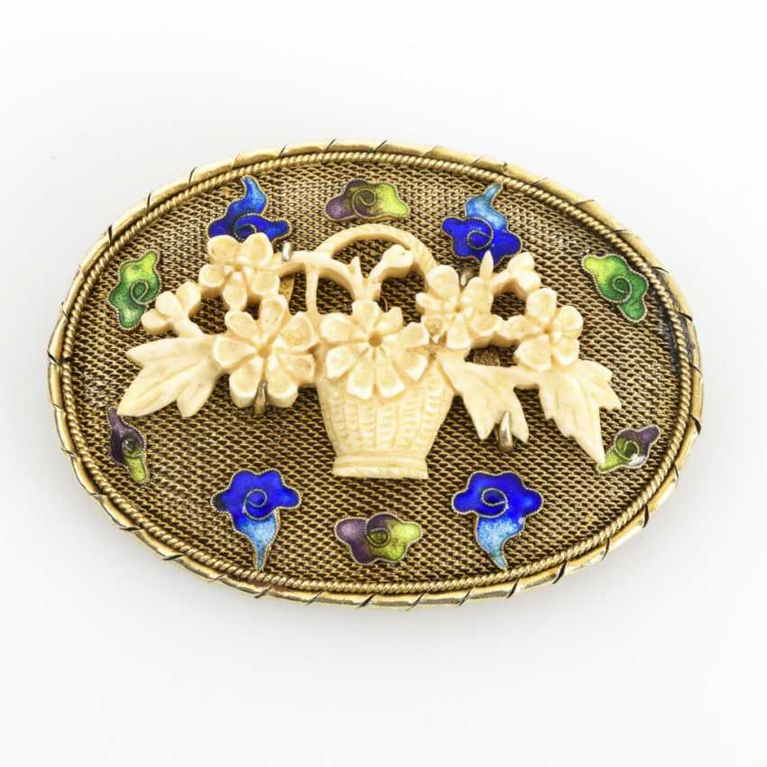 Asian brooch with enamel - photo 1