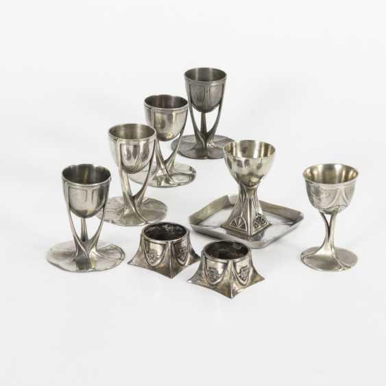 8 egg cups Art Nouveau pewter - photo 1