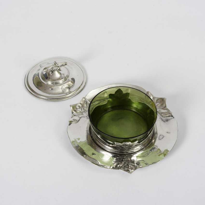 Art Nouveau silver tin jam pot - photo 2