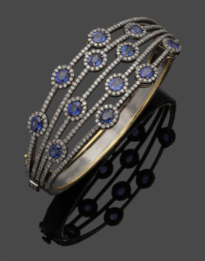 Elegant Russian sapphire and diamond bangle - photo 1