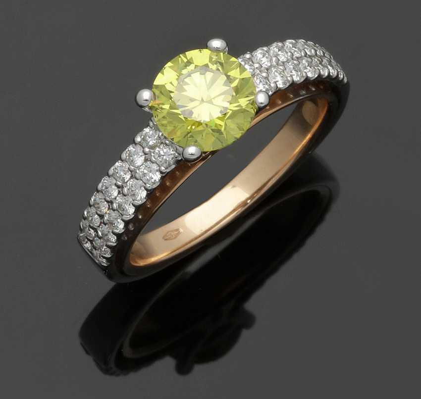 Elegant Fancy-Vivit-Yellow-Brilliant-Solitaire Ring - photo 1