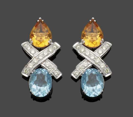 Pair of decorative Topaz diamond earrings - photo 1