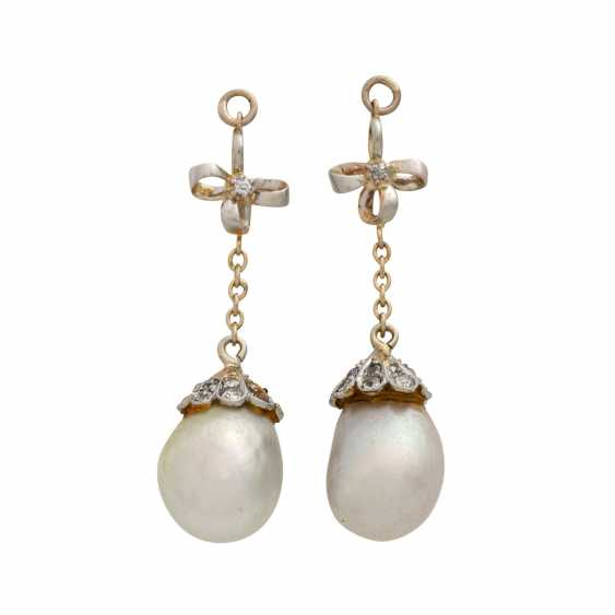 Pair of pendants with oriental pearls for ear studs, - photo 1